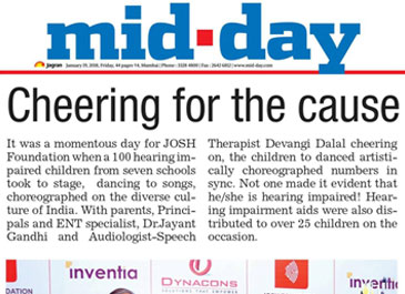 mid day news - josh foundation's inter school comptetion for the hearing impaired